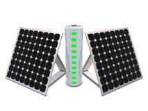 Batterij met indicatoren en zonnepanelen royalty-vrije illustratie