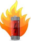 Batterij op het ontwerp van de brandillustratie Stock Foto's