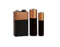 Batterij op witte geïsoleerde achtergrond, stock foto