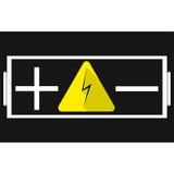 batterij Plus en minus tekens in het midden van het teken van de energie Stock Foto