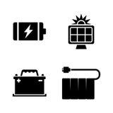 batterijen Eenvoudige Verwante Vectorpictogrammen Stock Foto's