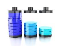 Batterijpictogram met kleurrijke lastenstatus Stock Foto's