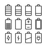 Batterijpictogrammen die in ios7 stijl worden geplaatst Stock Afbeelding