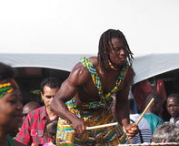 Batterista africano Fotografie Stock