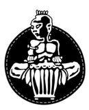 Batterista africano Giocatori di percussione Musica tribale del djembe o del bongo Logo dell'autoadesivo illustrazione vettoriale