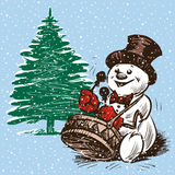 Batterista del pupazzo di neve ad un albero di Natale Fotografia Stock Libera da Diritti