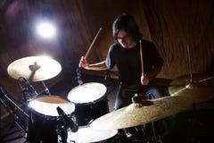 Batterista di rock-and-roll Fotografia Stock