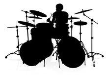 Batterista Silhouette del musicista royalty illustrazione gratis