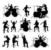 Batteristi delle siluette Fotografia Stock