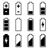 Batterisymbolsuppsättning Royaltyfri Illustrationer