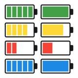 Batteriurladdning och laddning inställda symboler Arkivbild