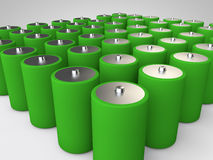 Batterry. A group of green battery Stock Photos