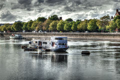 Battersea Park Boat. A long term mooring on the Thames at Battersea Park Royalty Free Stock Image