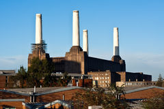 Battersea Power Station. A shot of the disused Battersea Power Station lit by the evening light Stock Image