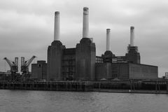 Battersea Power Station Black and White Royalty Free Stock Photography