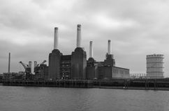 Battersea Power Station Black and White Royalty Free Stock Images