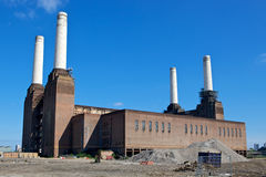 Battersea Power Station. Is a decommissioned coal-fired power station located on the south bank of the River Thames. The station is the largest brick building Stock Photography