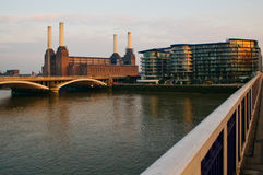 Battersea power station at dusk. Battersea power station (disused) at dusk viewed from Chelsea bridge London Royalty Free Stock Images