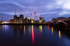 Battersea Power Station London England. Old power station construction sit River Thames  London England Royalty Free Stock Images