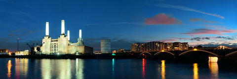 Battersea Power Station London. Battersea Power Station panorama over Thames river as the famous London landmark at night Stock Photos