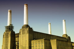 Battersea Power station. With one chimney semi-clad in scaffold Stock Images