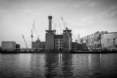 Battersea Power Station from opposite bank on the river Thames. Stock Images