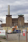Battersea power station redevelopment. London, England - May 22, 2016: Construction cranes over the Battersea power station currently being rebuilt, and Royalty Free Stock Photos