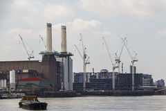 Battersea Power Station Regeneration Project. A shot of Battersea Power Station and the surrounding construction. The whole area is being redeveloped around the Royalty Free Stock Images