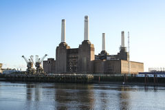 Battersea power station thames river london uk Royalty Free Stock Photos