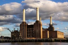 Battersea Powerstation in London. Abandoned powerstation in London, an iconic building of London skyline, featured on Pink Floyd's album cover Animals Royalty Free Stock Image