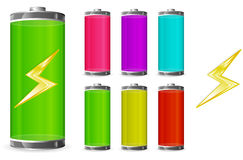 Battery. Set of  icons shows levels of battery Royalty Free Stock Image