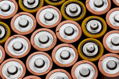 Battery. Stack of battery close up looks as background Stock Images