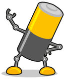 Battery. Illustration of cartoon battery with robot hand Royalty Free Stock Image