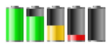 Battery. Differently charged batteries on white background. Vector Available Stock Photography