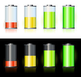 Battery. With various loads and colors stock illustration