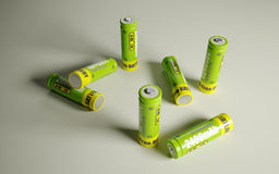 Battery. Some green rechargeable battery with isolated white background Royalty Free Stock Image