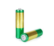Battery aa alkaline cadmium chemical three isolated on white bac Stock Images