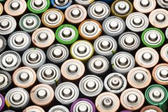 Battery abstract background shot from above close-up stock photo