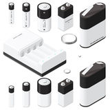 Battery and battery charger isometric icon set Royalty Free Stock Photos