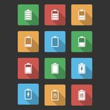 Battery Black Icons with Long Shadow Royalty Free Stock Photography