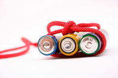Battery bound with red  rope Stock Image