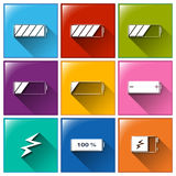 Battery buttons Stock Images
