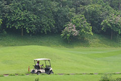 Battery car in golf course Royalty Free Stock Photography