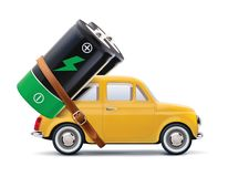 Battery on car isolated on white. vector illustration