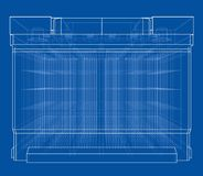 Battery car outline. Vector rendering of 3d. Wire-frame style. The layers of visible and invisible lines are separated Royalty Free Stock Photos