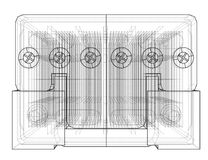 Battery car outline. Vector rendering of 3d. Wire-frame style. The layers of visible and invisible lines are separated Stock Photos