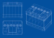 Battery car outline. Vector rendering of 3d. Wire-frame style. The layers of visible and invisible lines are separated Stock Photography