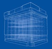 Battery car outline. Vector rendering of 3d. Wire-frame style. The layers of visible and invisible lines are separated Royalty Free Stock Photo