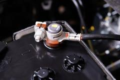 Battery car terminal. Closeup new battery car terminal in engine room Stock Image
