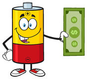 Battery Cartoon Mascot Character Holding A Dollar Bill Royalty Free Stock Photos